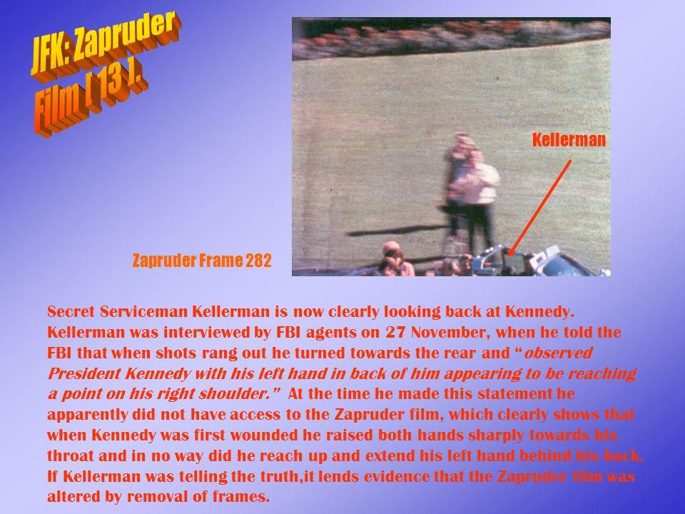 JFK: Zapruder Film [ 13 ]. Kellerman Zapruder Frame 282